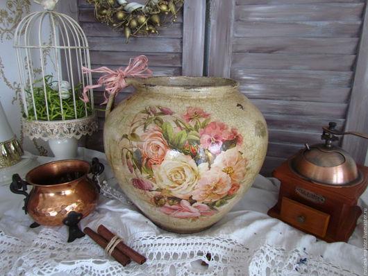 """Вазы ручной работы. Ярмарка Мастеров - ручная работа. Купить Старинный глечик """"Винтажные букеты"""". Handmade. Глечик, ретро, розовый"""