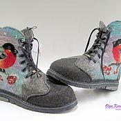 """Валяные ботинки """"Снегири на рябине"""""""