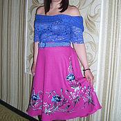 """Одежда ручной работы. Ярмарка Мастеров - ручная работа Вышитая юбка """"ФЛАМИНГО""""лен юбка. Handmade."""