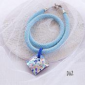 """Украшения handmade. Livemaster - original item Кулон """"Мурано"""" голубой, жгут из бисера. Handmade."""