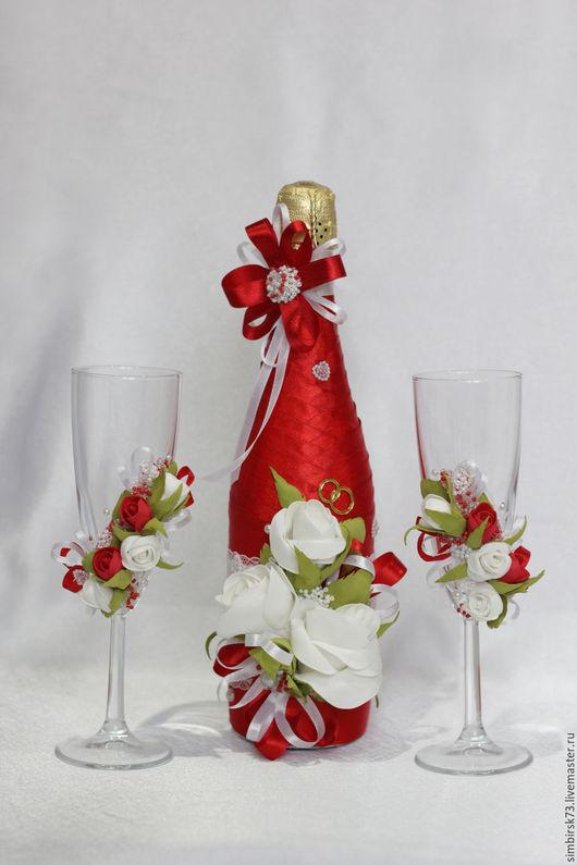 """Свадебные аксессуары ручной работы. Ярмарка Мастеров - ручная работа. Купить Свадебный набор """" Любовь"""". Handmade. Ярко-красный"""