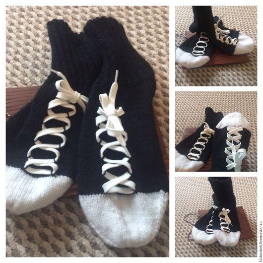 Носки, Чулки ручной работы. Ярмарка Мастеров - ручная работа. Купить Носки -кеды. Handmade. Чёрно-белый, носки, кеды