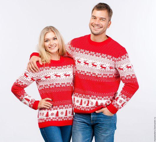 """Кофты и свитера ручной работы. Ярмарка Мастеров - ручная работа. Купить Свитер """"Новогодние олени"""" из шерсти красный. Handmade."""
