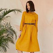 Одежда handmade. Livemaster - original item Mustard-colored linen dress with a collar. Handmade.