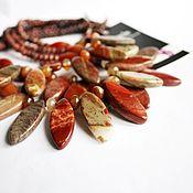 """Колье """"Листопад"""",многорядное,красная яшма,сердолик,медь,ожерелье, бусы"""