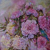 """Картины и панно handmade. Livemaster - original item Картина маслом"""" Пионовый аромат счастья 2 """"розовый ,фиолетовый. Handmade."""
