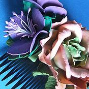 """Украшения ручной работы. Ярмарка Мастеров - ручная работа Гребень """"Роза и фиалки"""". Handmade."""