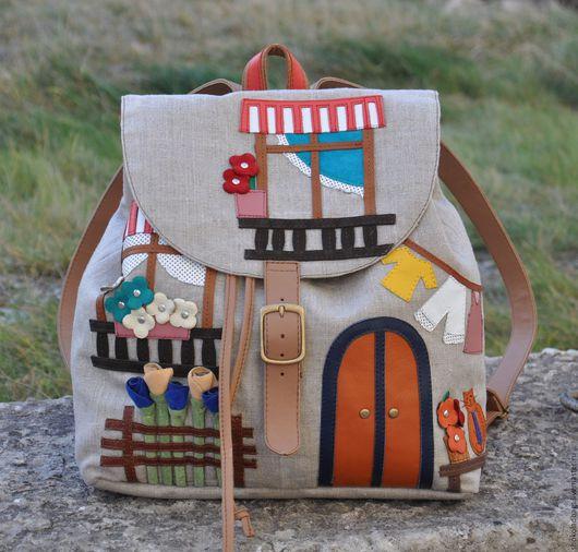 """Рюкзаки ручной работы. Ярмарка Мастеров - ручная работа. Купить Льняной рюкзак с кожей """" Уютный Неаполь"""". Handmade. Рюкзачок"""