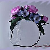 Аксессуары ручной работы. Ярмарка Мастеров - ручная работа Украшение для волос -ободок с розами и гортензией. Handmade.