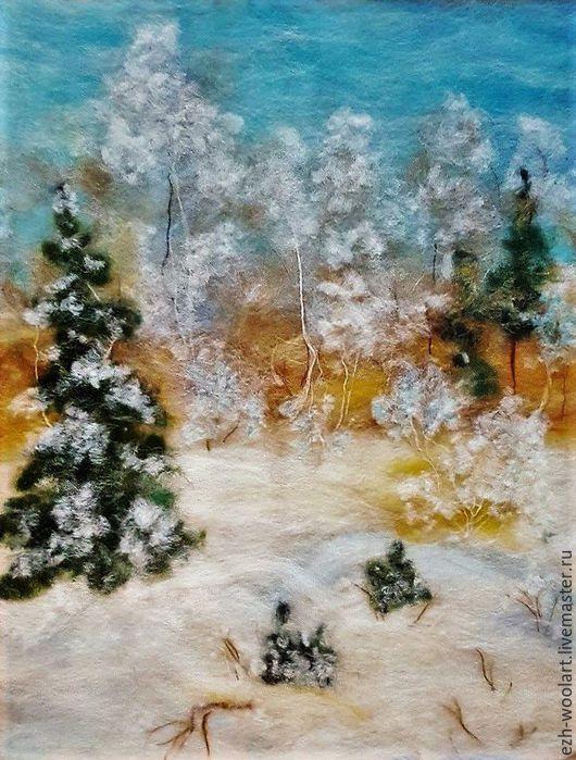 Пейзаж ручной работы. Ярмарка Мастеров - ручная работа. Купить Картина шерстью. Январь.. Handmade. Зима, елки, шерстяная акварель