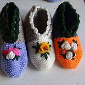 Обувь ручной работы. Ярмарка Мастеров - ручная работа Следки вязаные с вышивкой. Handmade.