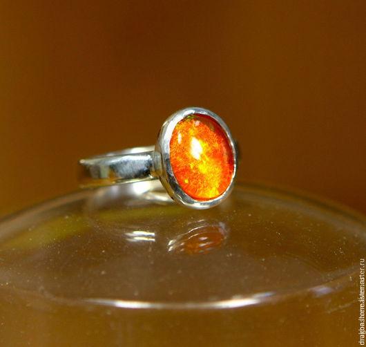 """Кольца ручной работы. Ярмарка Мастеров - ручная работа. Купить Кольцо """"Tangerine"""" с огненным опалом. Handmade. Оранжевый, опал эфиопский"""