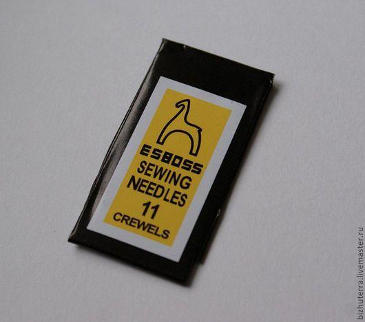 1)  иглы для бисера №11  толщина 0,45 мм, отверстие 0,3 мм, длина 48 мм (25 шт. в пачке) - пачка - 80 р