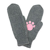 Аксессуары handmade. Livemaster - original item Mittens with paws: gray and fluffy paws, women`s knitted. Handmade.