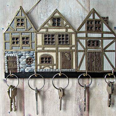 For home and interior handmade. Livemaster - original item Housekeeper Alpine City. The housekeeper wall.Housekeeper with houses.. Handmade.