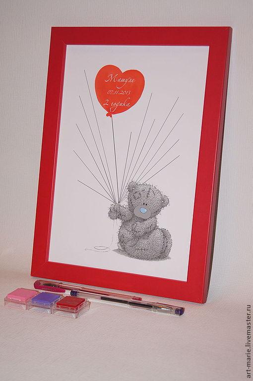"""Персональные подарки ручной работы. Ярмарка Мастеров - ручная работа. Купить детский fingerprint """"Teddy Bear"""" для девочки. Handmade."""