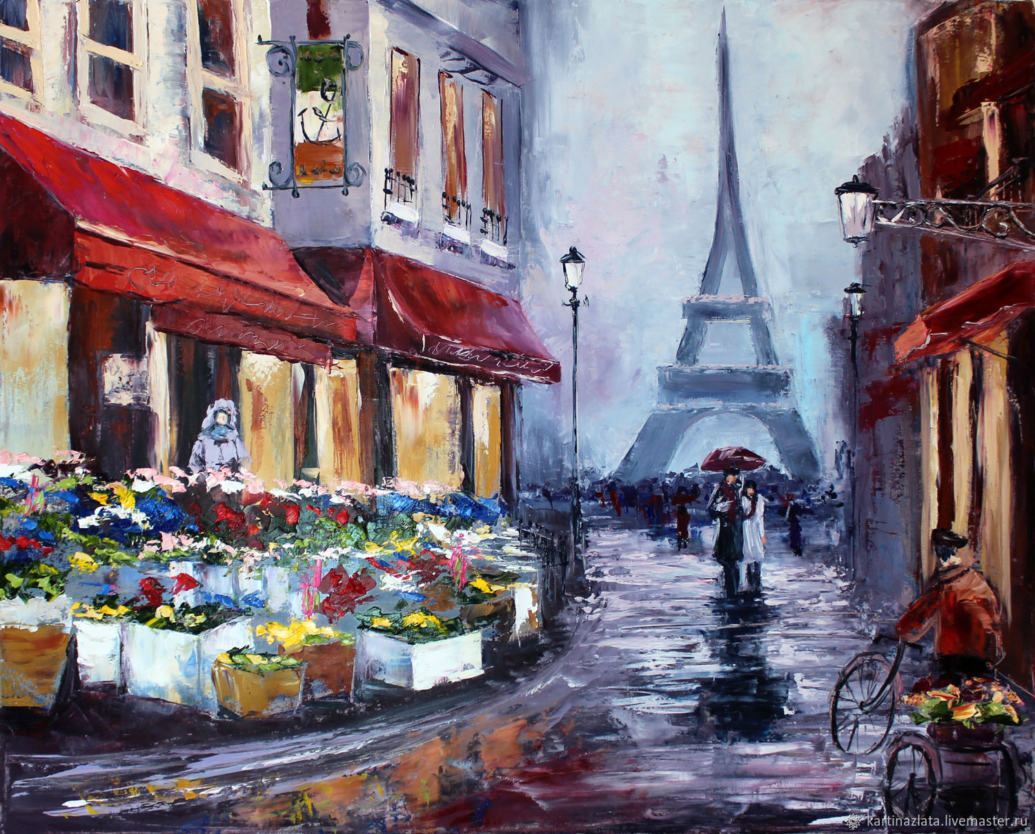 Oil painting urban landscape Rainy Paris, Pictures, Azov,  Фото №1
