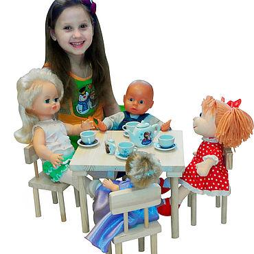 Куклы и игрушки ручной работы. Ярмарка Мастеров - ручная работа Стол и 4 стула для куклы до 50 см (без рисунка). Handmade.