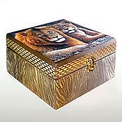 Для дома и интерьера handmade. Livemaster - original item The Lion`s share of box decoupage jewelry Box handmade Author`s jewelry box. Handmade.