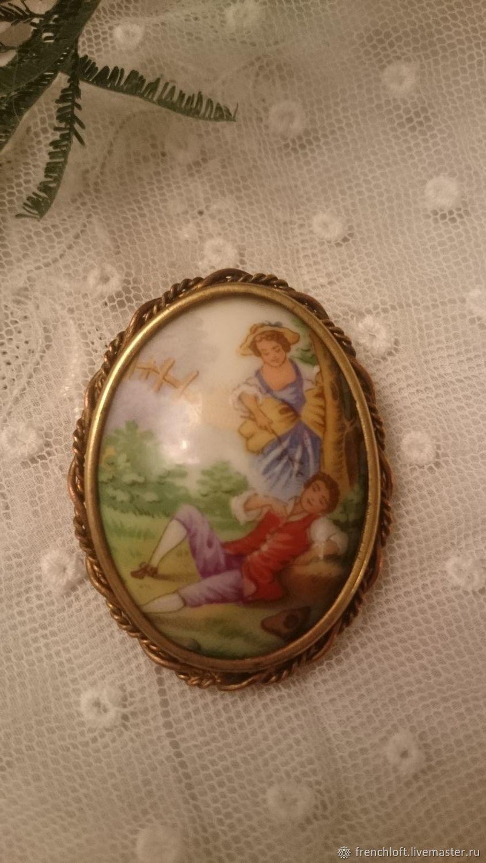 Винтаж: Старинная антикварная брошь. Фарфор, Франция, Броши винтажные, Нант,  Фото №1