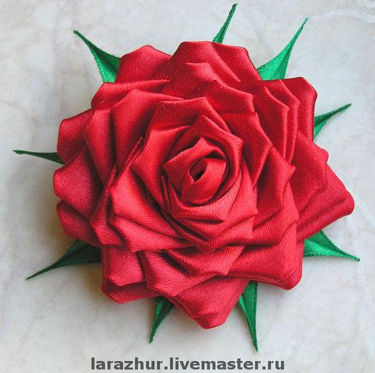 """Заколки ручной работы. Ярмарка Мастеров - ручная работа. Купить """"Роза"""" украшение из атласных лент. Handmade. Роза"""