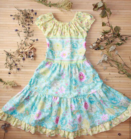 """Одежда для девочек, ручной работы. Ярмарка Мастеров - ручная работа. Купить Летнее детское платье """"Зной"""". Handmade. Мятный"""