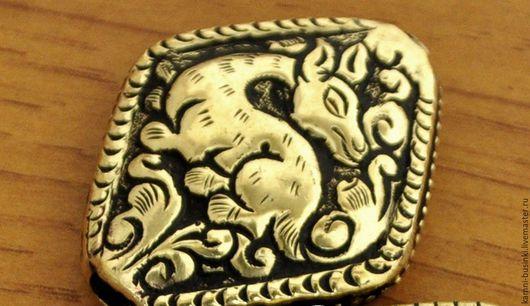 Тибетские бусины Олень латунь ручная гравировка Непал. Тибетские Бусины  для колье, непальские бусины для браслетов, Тибетская бусина для серег.