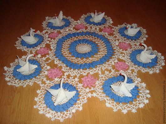 """Текстиль, ковры ручной работы. Ярмарка Мастеров - ручная работа. Купить Салфетка """"Лебединое озеро"""". Handmade. Вязание крючком, лебеди"""