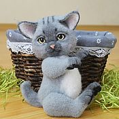 Войлочная игрушка ручной работы. Ярмарка Мастеров - ручная работа Войлочный котенок.(валяная игрушка). Handmade.