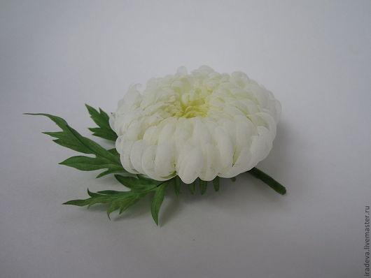 Цветы ручной работы. Ярмарка Мастеров - ручная работа. Купить Цветы из шелка. Хризантема.. Handmade. Белый, 100% шёлк