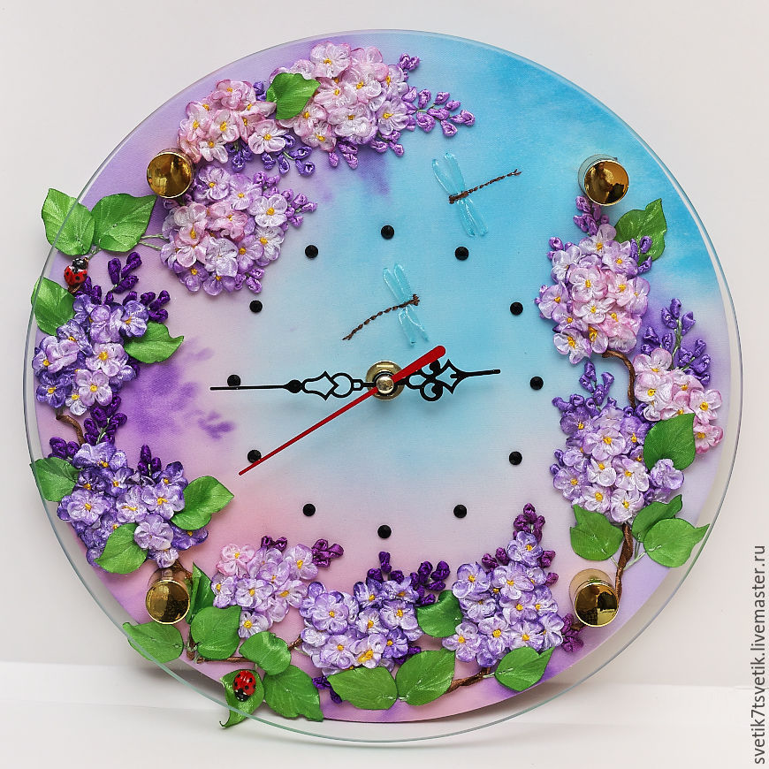 Wall clock embroidered with ribbons The charm of lilac, Watch, Kurgan,  Фото №1