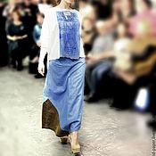 Одежда handmade. Livemaster - original item Skirt long denim floor length asymmetric boho. Handmade.