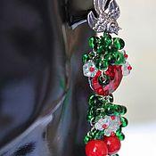 Украшения handmade. Livemaster - original item Earrings lampwork berry with Swarovski crystals Cherries. Handmade.