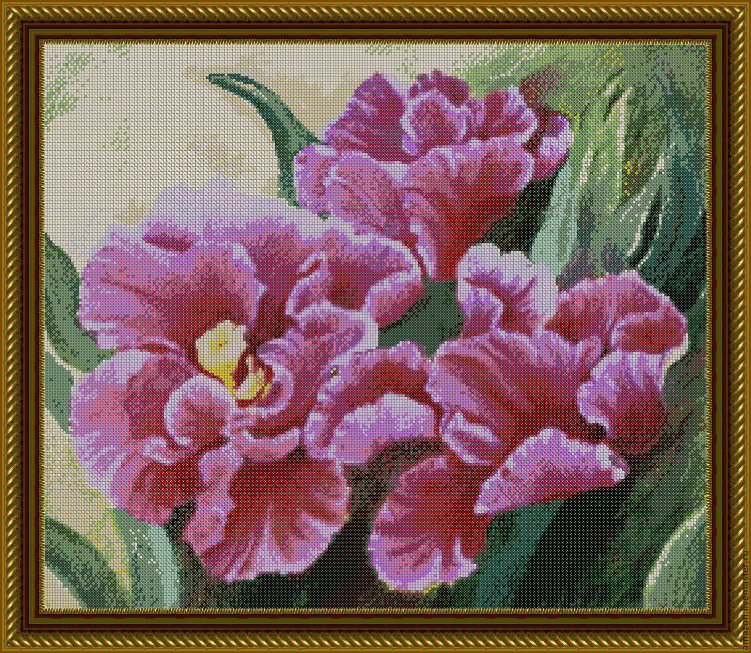 Needlework handmade. Livemaster - handmade. Buy Set for embroidery with beads 'PINK IRISES'.Flowers, pattern, bead embroidery