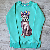 "Одежда handmade. Livemaster - original item Copy of Copy of of sweatshirt women with the author print ""Panda"". Handmade."