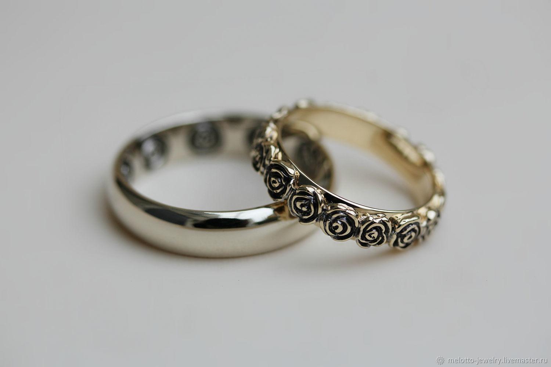 Свадебные украшения ручной работы. Ярмарка Мастеров - ручная работа. Купить  Обручальные кольца с розами 132f167d747