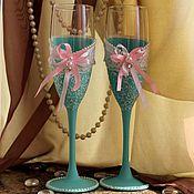 """Свадебный салон ручной работы. Ярмарка Мастеров - ручная работа Свадебные бокалы """"Шебби-шик"""". Handmade."""
