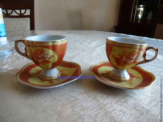 Винтажная посуда. Ярмарка Мастеров - ручная работа. Купить Набор кофейных чашечек с блюдцами ( 2 пары). Handmade. Разноцветный