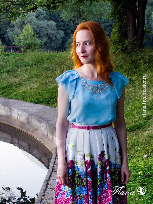 Блузка `Кристина` (шелк, штапель) может использоваться как летняя, так и как нарядная. Индивидуальный пошив, Флана