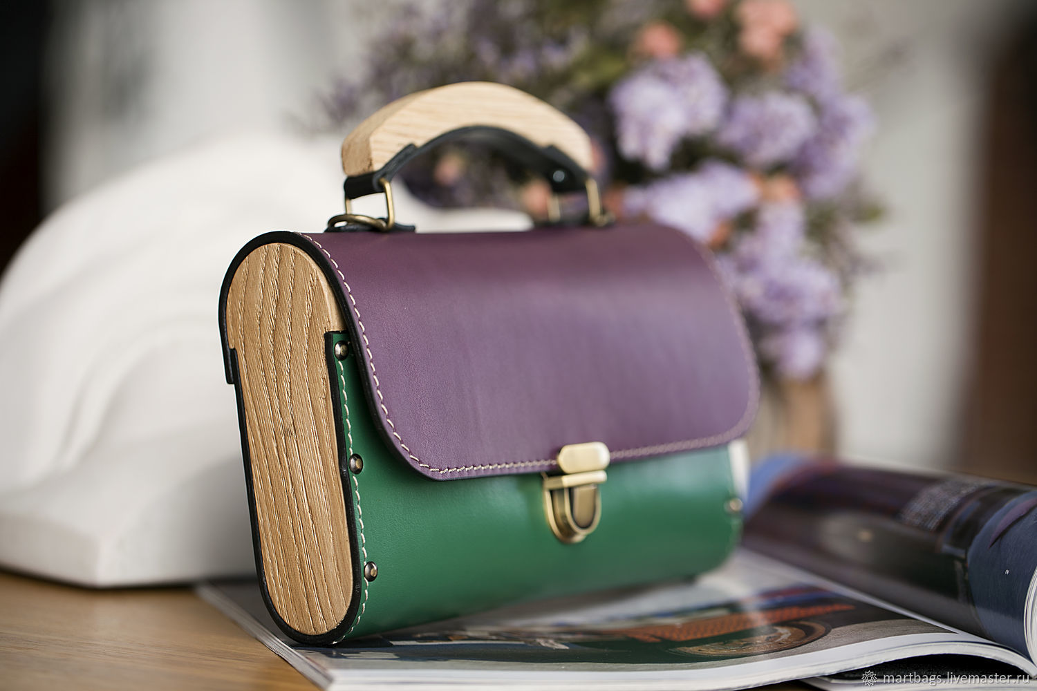 Leather and wood colorfull GF evening clutch bag, Clutches, St. Petersburg,  Фото №1