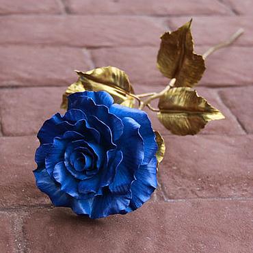 Цветы и флористика ручной работы. Ярмарка Мастеров - ручная работа Темно-синяя кованая роза. Handmade.