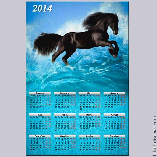 Иллюстрации ручной работы. Ярмарка Мастеров - ручная работа. Купить календарь-коллаж 2014 год. Handmade. Тёмно-бирюзовый, черный, конь