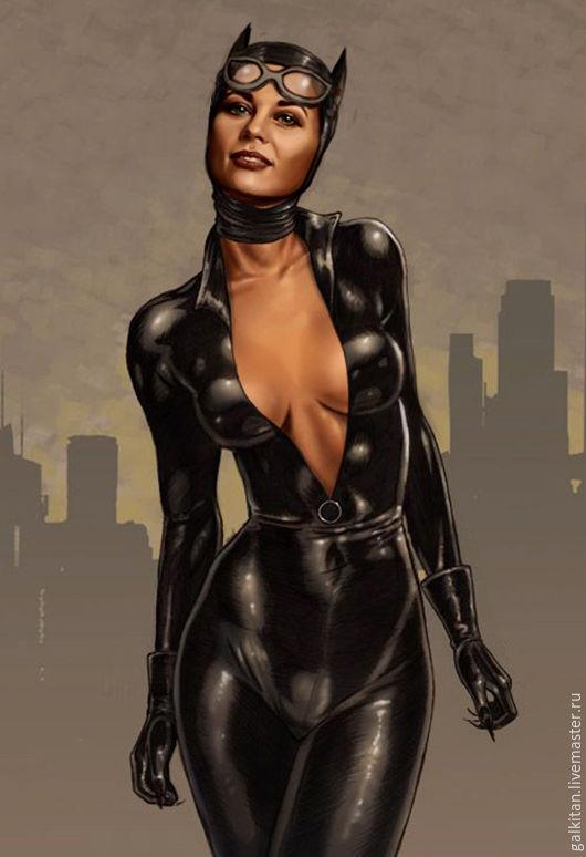 Цифровой рисунок. Портрет девушки в образе Женщины-кошки  (Catwoman)