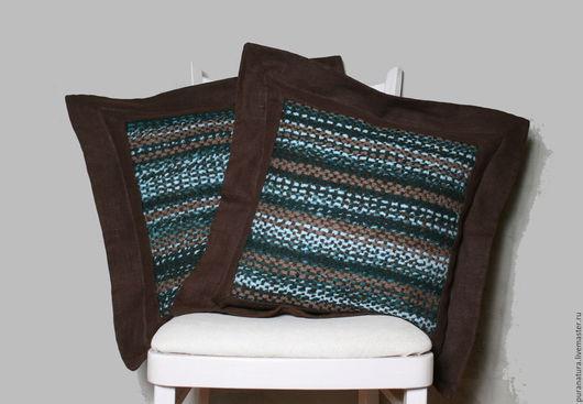 Текстиль, ковры ручной работы. Ярмарка Мастеров - ручная работа. Купить Комплект подушек. Handmade. Коричневый, подушка на диван, лён
