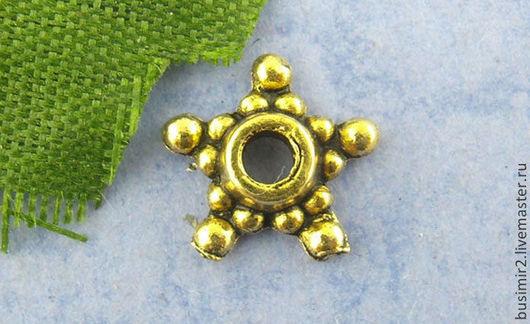 Шапочка для бусин, цвет - античное золото. Размер 9 мм. Фурнитура для создания украшений. Busimir