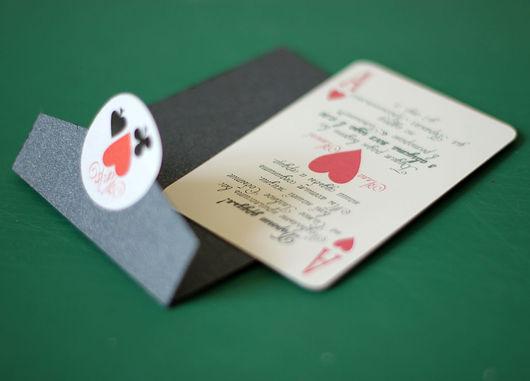 """Свадебные аксессуары ручной работы. Ярмарка Мастеров - ручная работа. Купить Приглашения """"Свадьба в стиле покер"""". Handmade. Приглашение"""