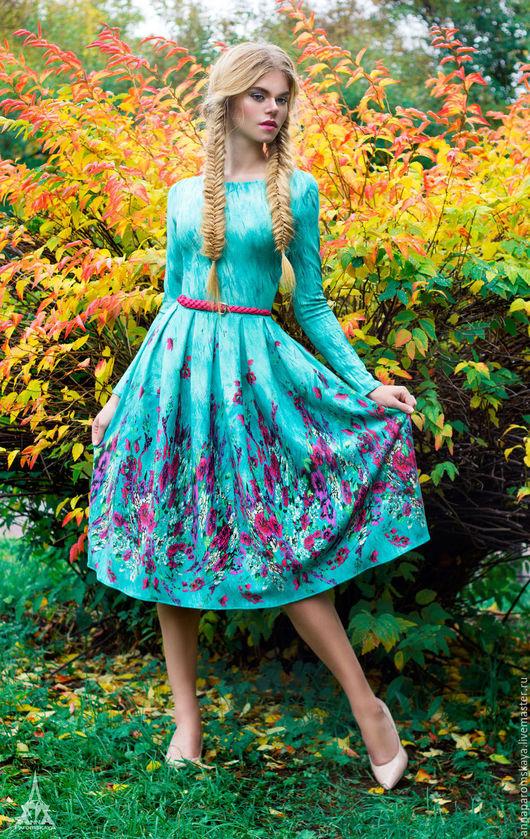 Платья ручной работы. Ярмарка Мастеров - ручная работа. Купить Мятное платье. Handmade. Мятный, Коктейльное платье, платье по колено