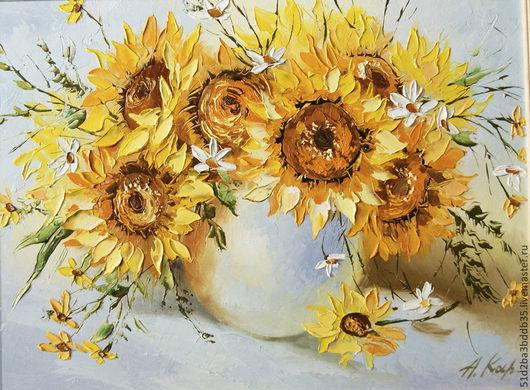 Картины цветов ручной работы. Ярмарка Мастеров - ручная работа. Купить подсолнухи. Handmade. Желтый, картина в подарок, картина маслом