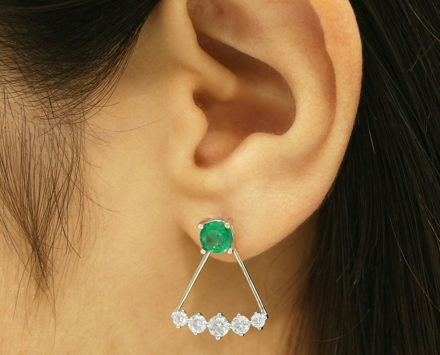 Earrings Handmade Livemaster 14k Emerald Earring Stud Jacket