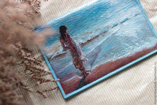 """Обложки ручной работы. Ярмарка Мастеров - ручная работа. Купить Обложка """"Девушка и море"""" Так хочется тепла и солнышка. Handmade."""